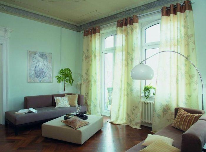 tipos de cortinas, toque aireado, ejemplo en verde claro, tejido