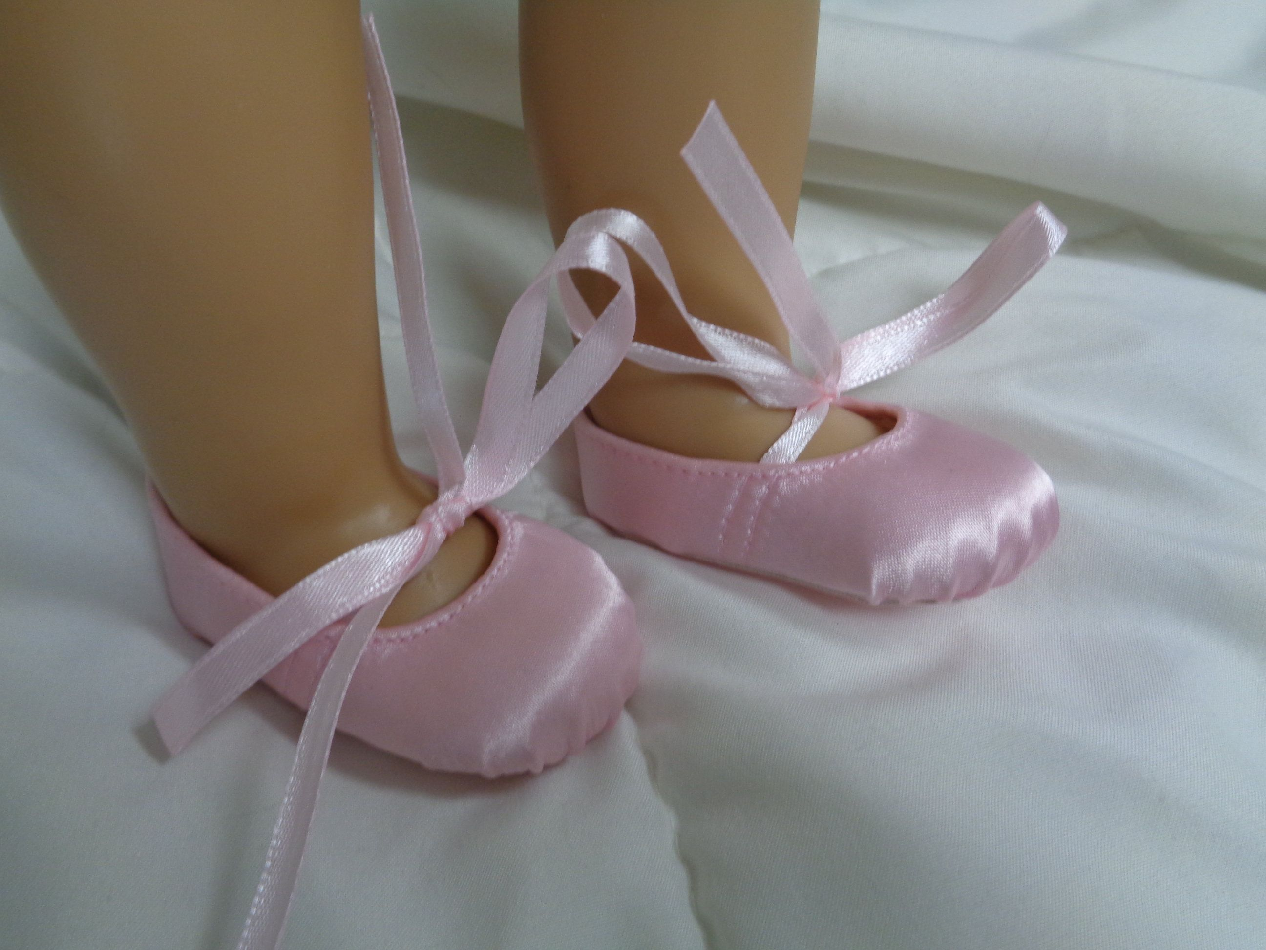 Pink Satin Ballet Slippers Fits American Girl Doll 18 Inch Doll Shoes
