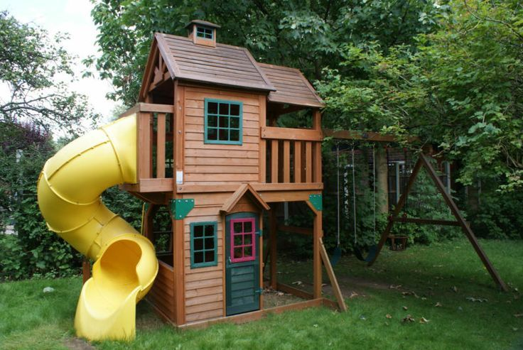 Image result for wooden playhouse with slide back yard for Childrens playhouse with slide and swing