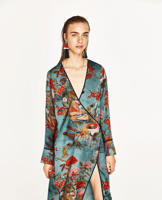 zara woman printed kimono dress brown size m 38 ref 2912. Black Bedroom Furniture Sets. Home Design Ideas