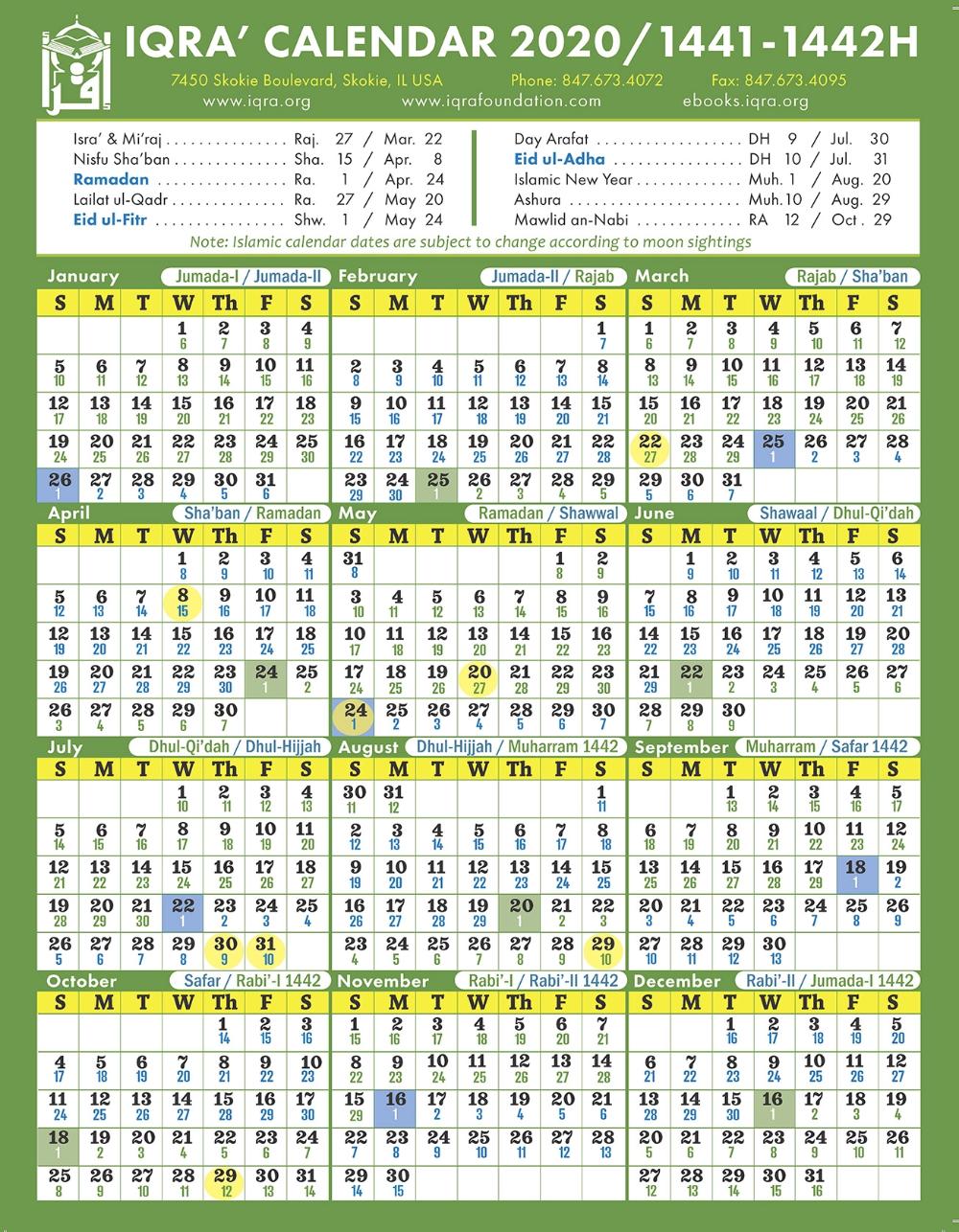 Iqra Calendar 2020 1441 1442h Islamic Dates Islamic Calendar Hijri Calendar Calendar 2020