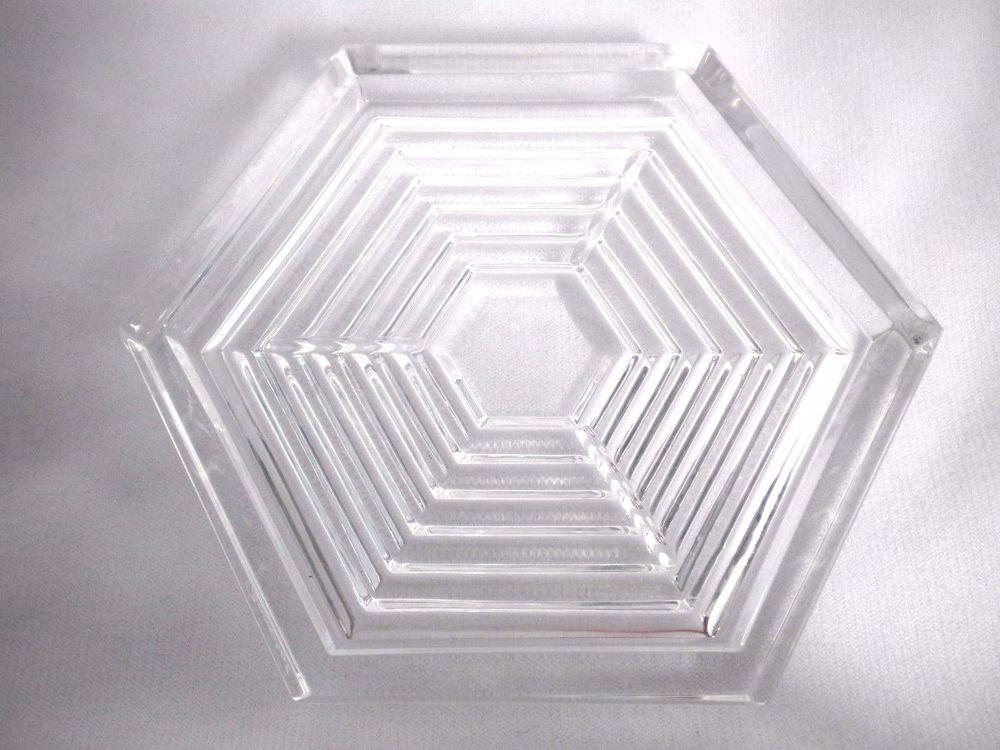 Baccarat Crystal Wine Bottle Decanter Coaster Hexagon Vtg 1980 S
