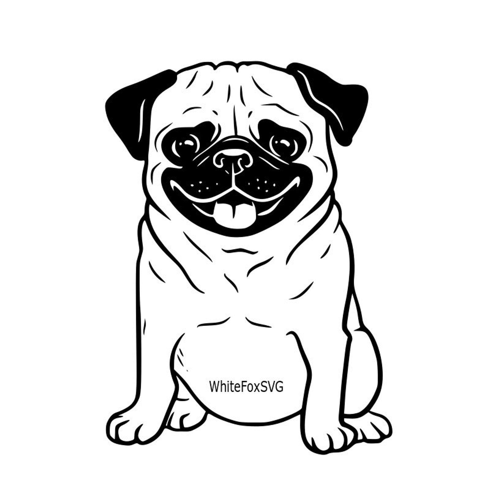 Funny Cute Adorable Pug Puppy Smiling Puppy Svg Dog Svg Clipart