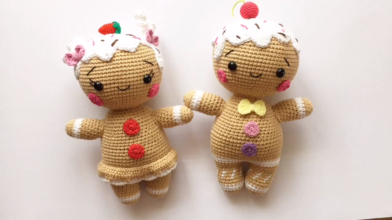 Photo of Crochet pattern PDF Gingerbread man and girl couple / Step-by-step instructions for creating