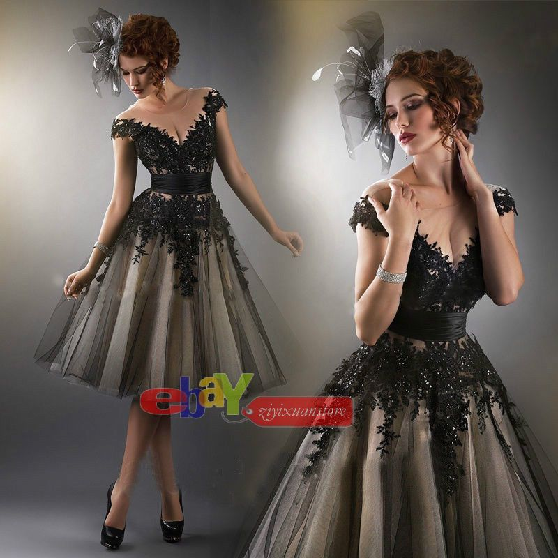 2015 New Sexy Black Applique Formal Evening Ball Prom Cocktail Dress  6-16 #New #Aline #Formal