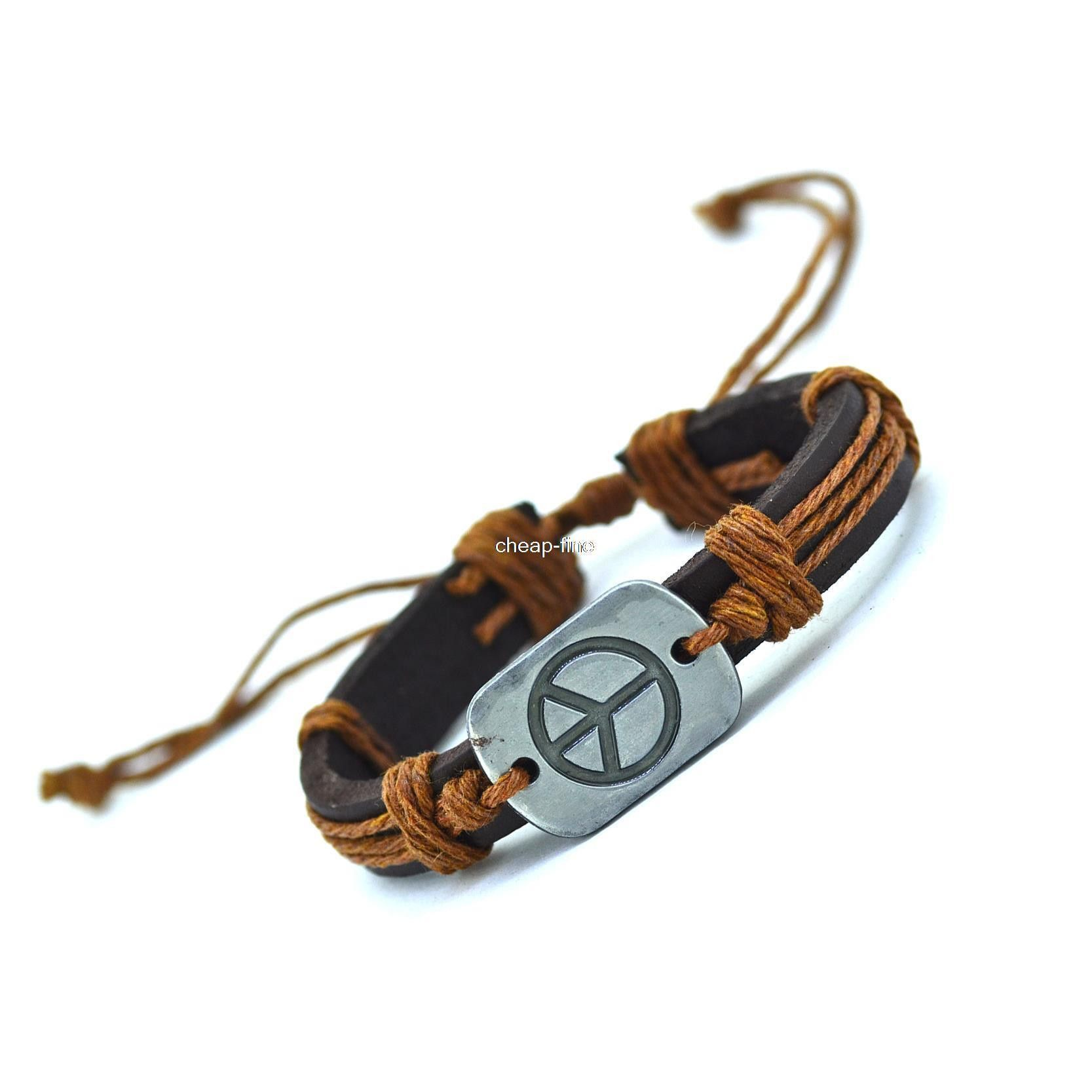 Peace leather bracelets cuff weave wrap leather men bracelets