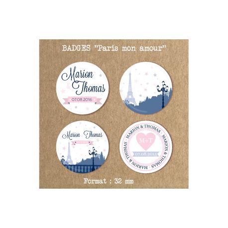 Badges mariage Paris mon amour
