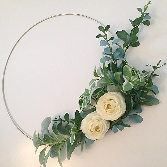 Photo of Modern hoop wreath with lambs ear and cream flowers for weddings and spring decor