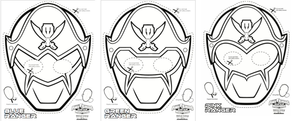 Super Mega Power Rangers Printable Coloring Masks Power
