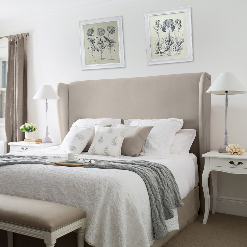 Linen winged bedhead (With images) Farmhouse bedroom