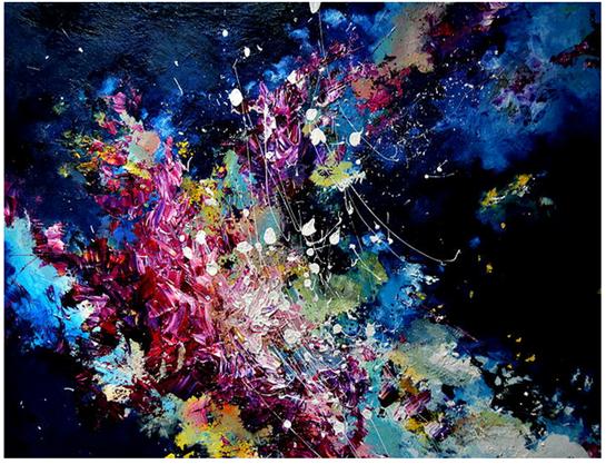 Melissa McCracken, sinestetik, painting Lucky - Radiohead, Artist Melissa McCracken Paint Music