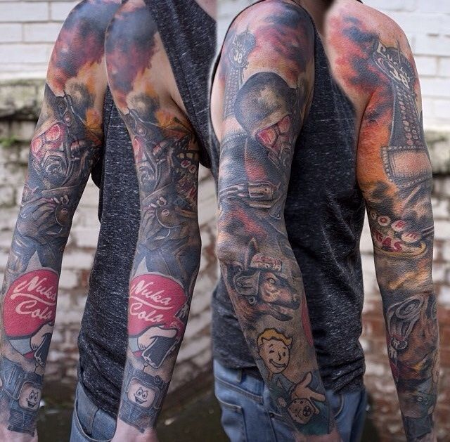 Absolutely Amazing Fallout Tattoo Sleeve Fallout Tattoo Gamer Tattoos Gaming Tattoo
