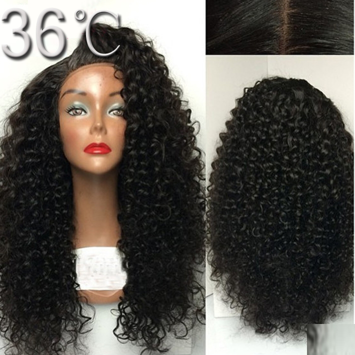 138.55$  Buy now - http://alihc4.worldwells.pw/go.php?t=32419478288 - Top vigin human hair wigs 200% heavy density full lace wig curly lace wigs for black women with bang baby hair free shipping 138.55$