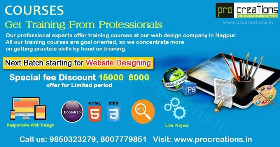 Pro Creations Is A Best Web Designing Development Training Institute In Nagpur India Company Off Web Design Course Web Development Design Web Design Training