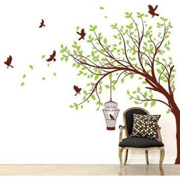 Adesivo sticker murale albero d 39 estate misure 165x150 for Adesivi muro cucina