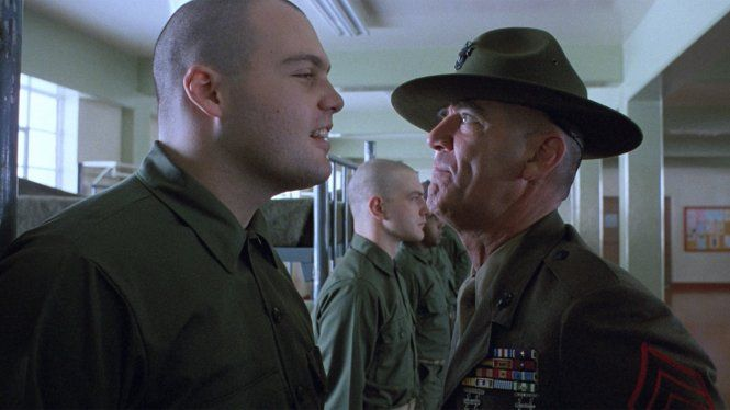 Vincent D'Onofrio and R. Lee Ermey in Full Metal Jacket (1987)