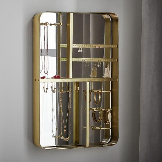 Brass Framed Mirrored Wall Mount Jewelry Organizer Decor