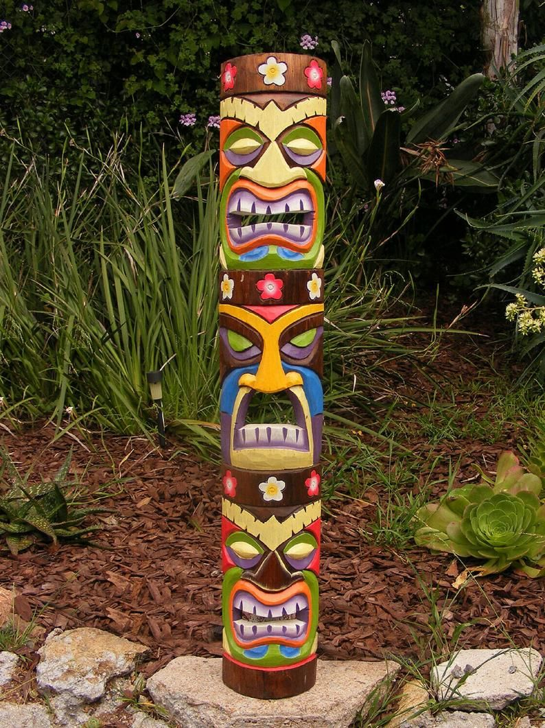 40 Tiki Mask Set Tiki Totem 3 Face Tribal Tiki Statue   Etsy