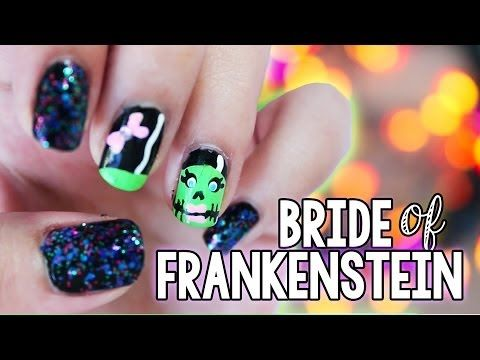 Easy Bride Of Frankenstein Nails Halloween Nail Ideas Halloween