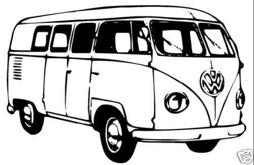 Volkswagen Line Drawing vw Bus Drawing Rubber Stamp um | Rubber ...