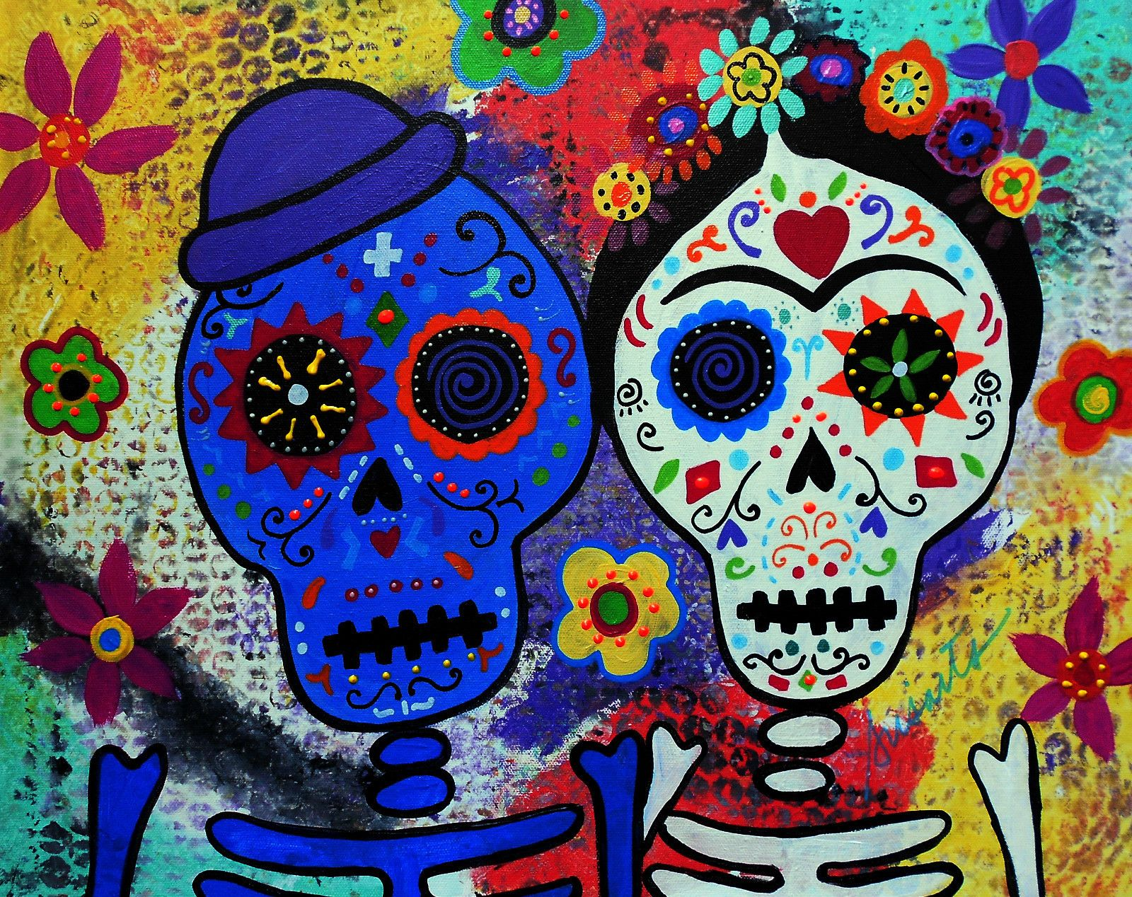 Folk art diego rivera day of the dead frida kahlo painting diego rivera and frida kahlo dia de los muertos by pristine cartera turkus i like this artists work dailygadgetfo Images