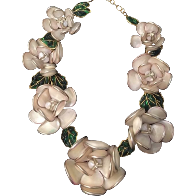 aaab001e7d4ad4 Gripoix Glass Camelia Necklace by Augustine, Paris, by Thierry Gripoix.