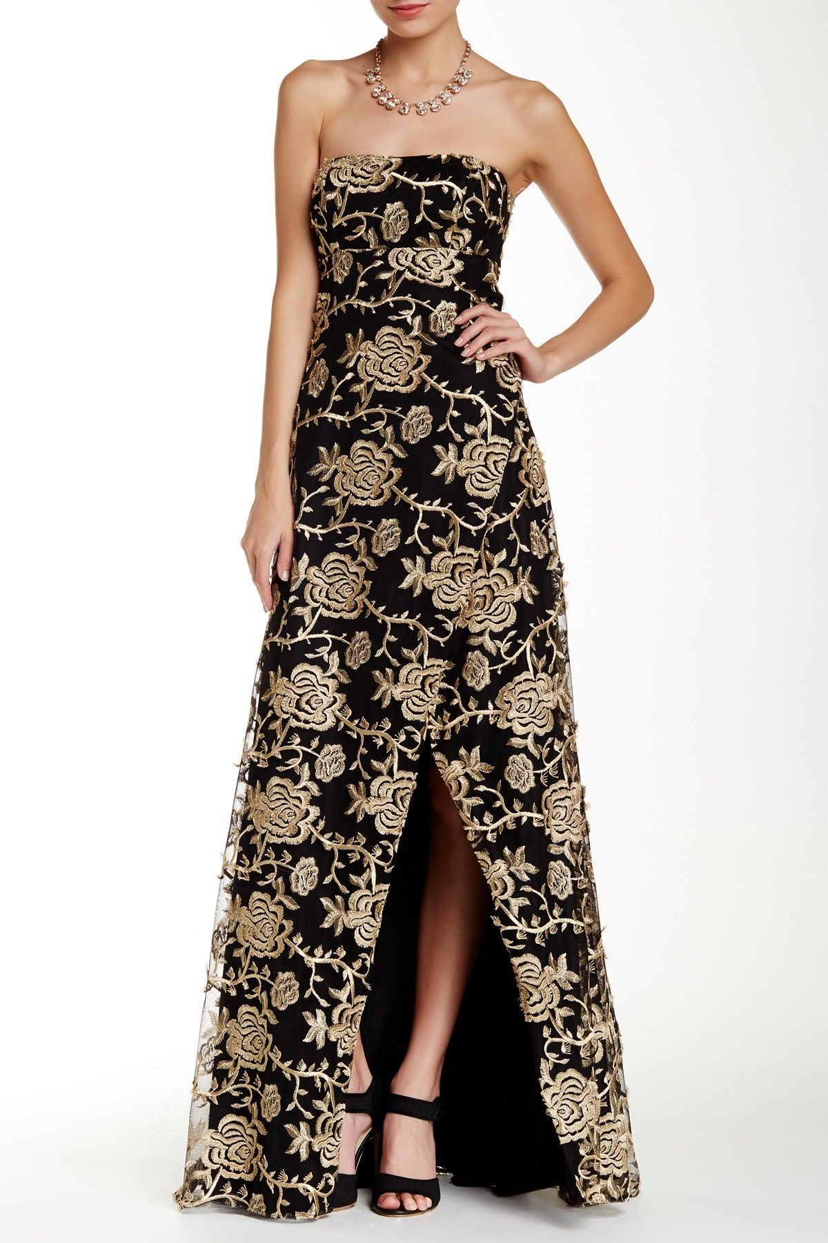 Mikael Aghal | Floral Embroidered Strapless Gown