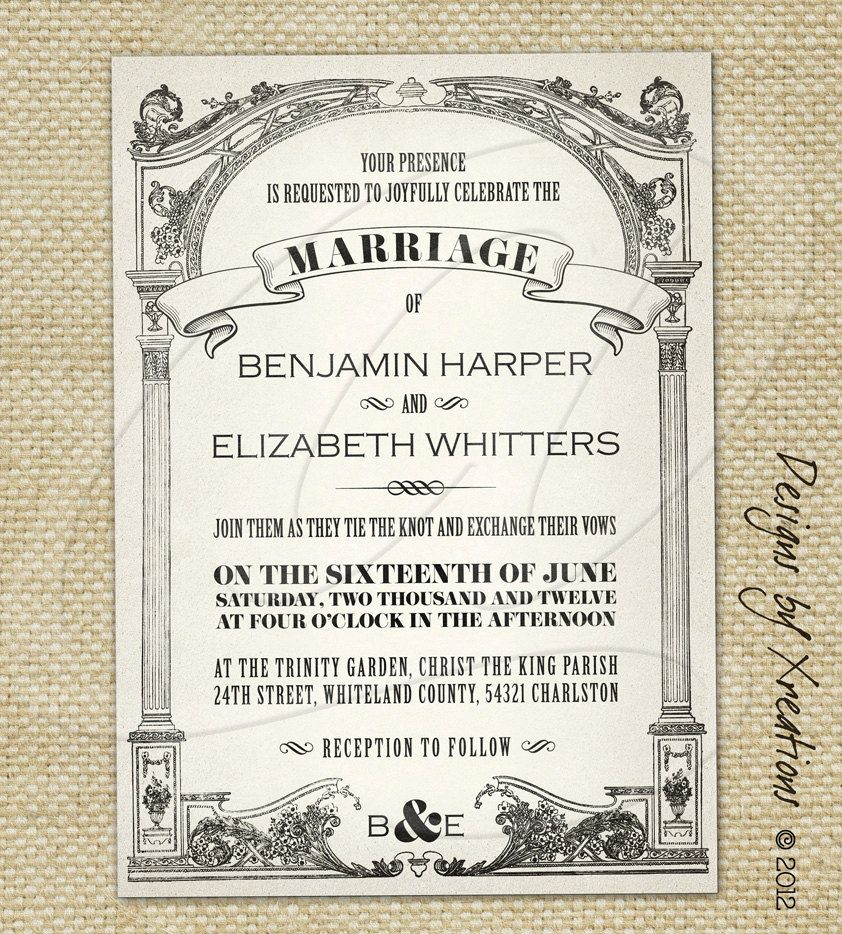 Vintage Wedding Invitations Vintage wedding invitation templates - microsoft word invitation templates free