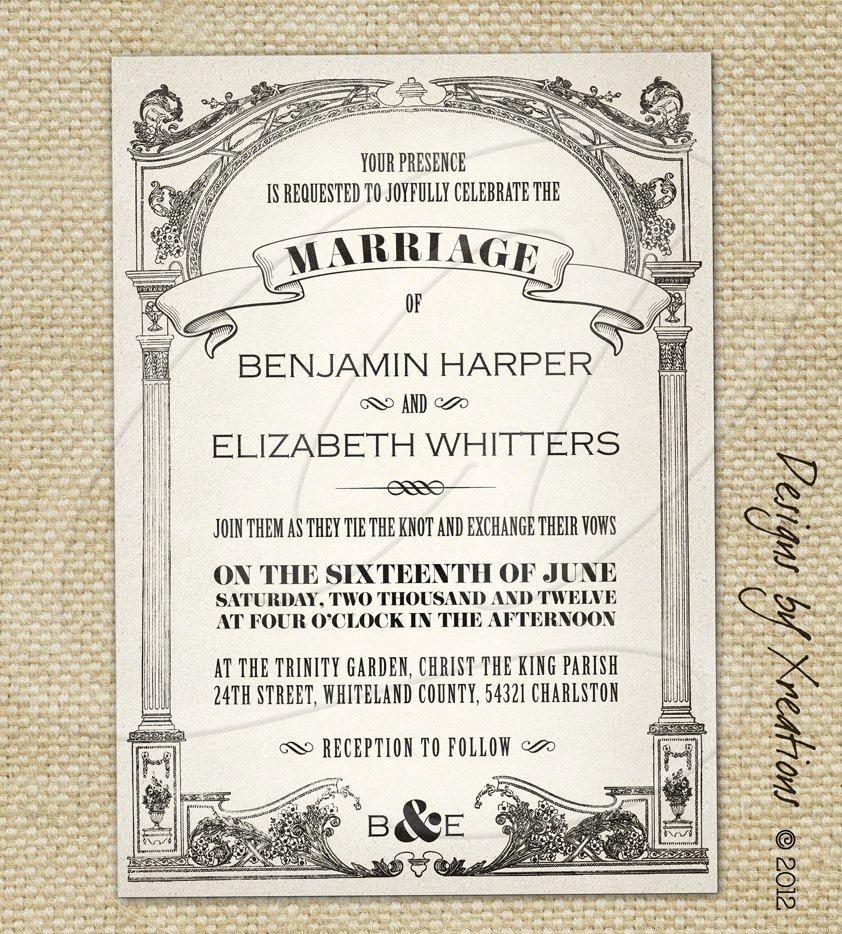 Vintage Wedding Invitations | Vintage Wedding Invitation Templates  Publisher Wedding Invitation Templates