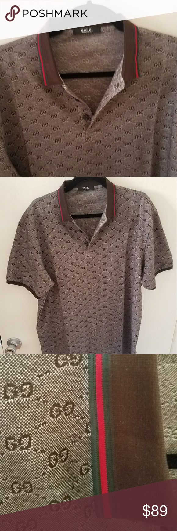 bce06249d1a 100% Authentic Gucci Polo Shirt Brown. L or XL 100% Authentic Gucci Polo  Shirt Brown. No size tag