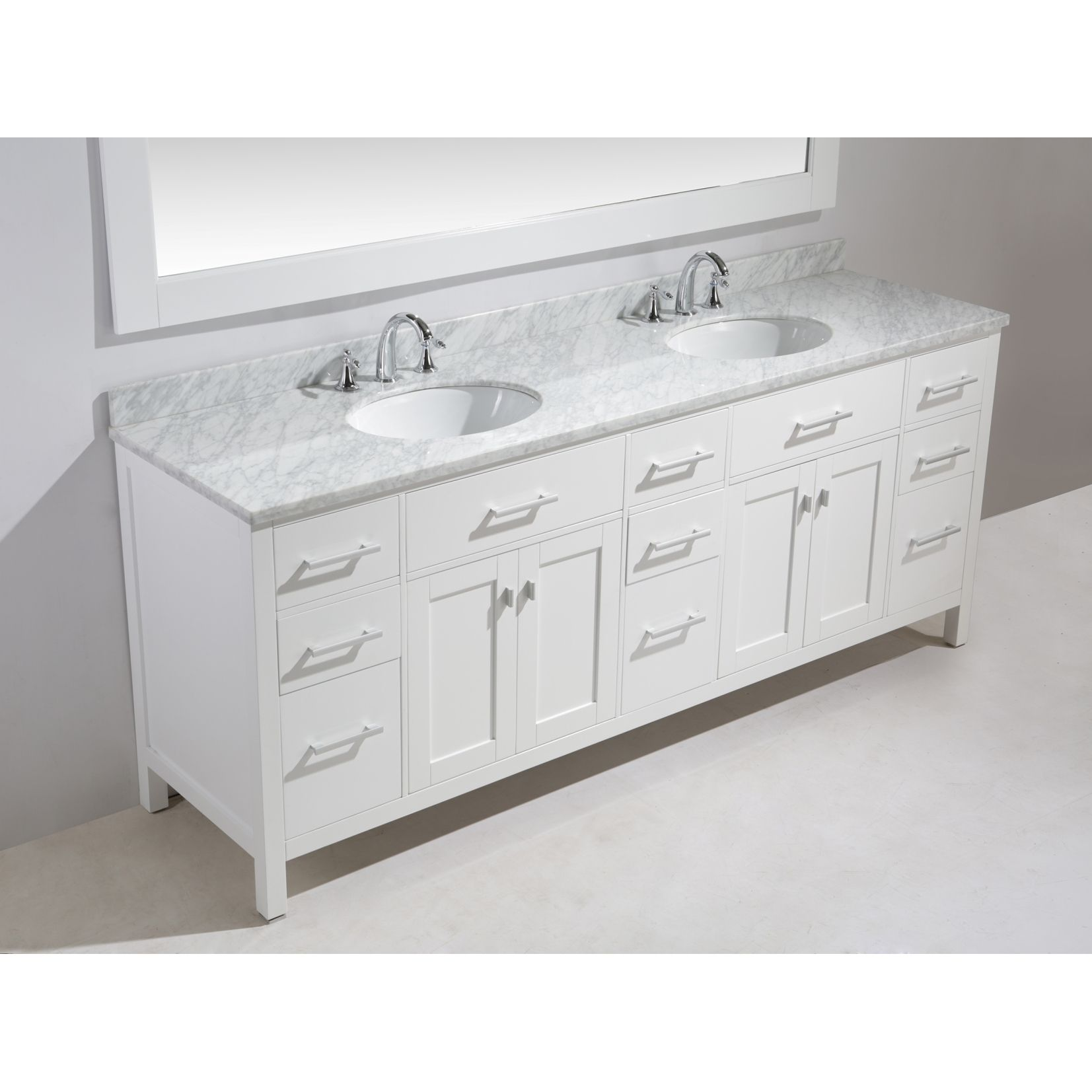 Design Element London 84 Inch Double Sink Vanity Set In White Finish |  Overstock.