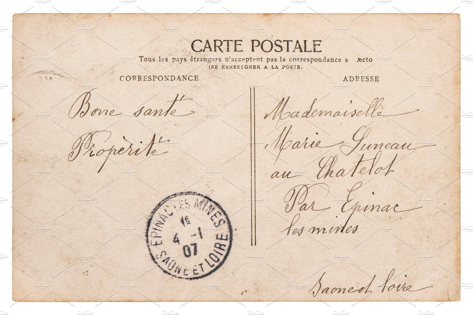 Paris Gift for Collectors Gift for Travelers Vintage Stamp Vintage Postcard from 1907 Antique Postcard Post Card Collecting France