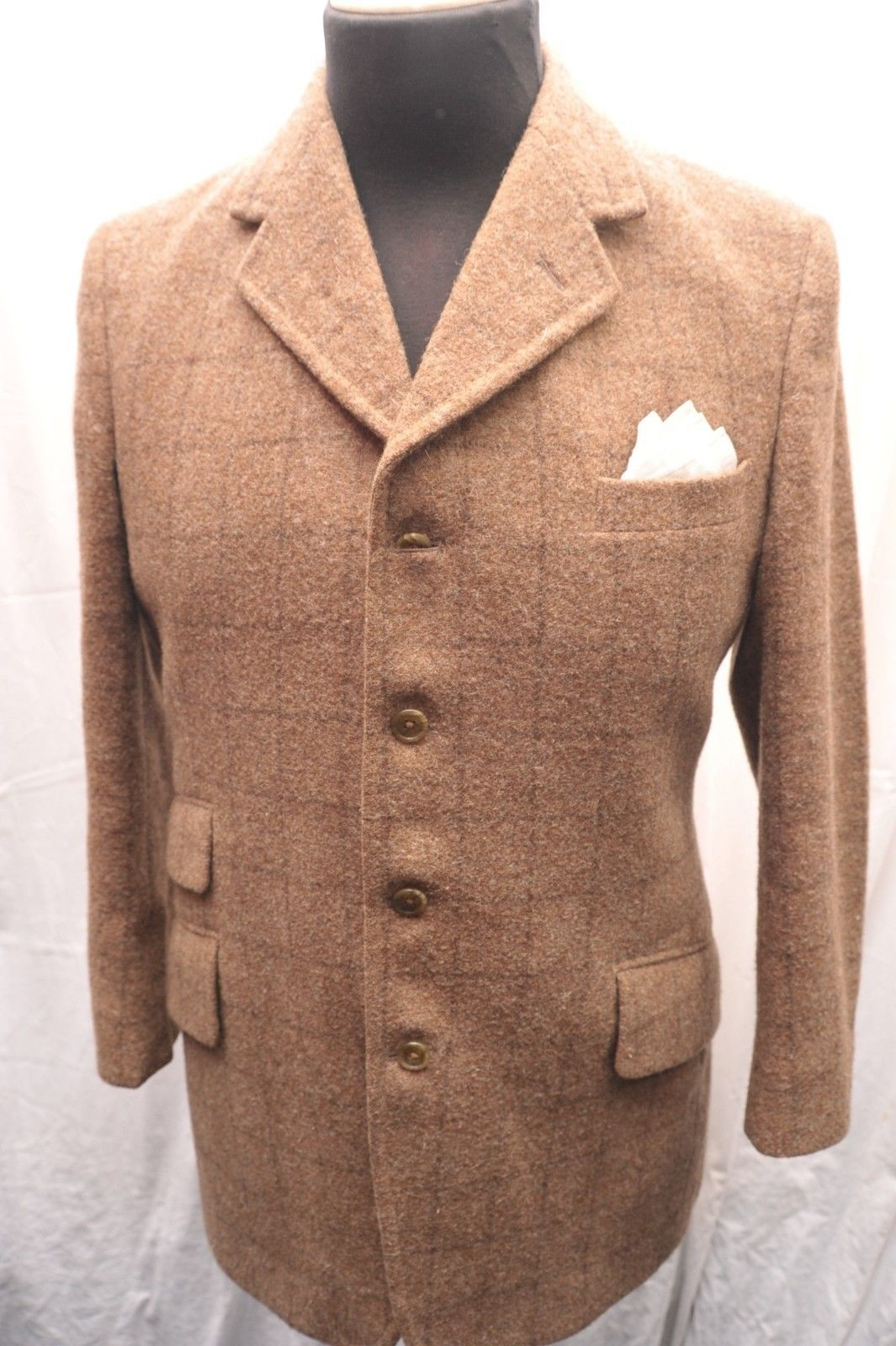 VINTAGE ENGLISH TWEED SINGLE BREASTED WOOL 4 PIECE ...