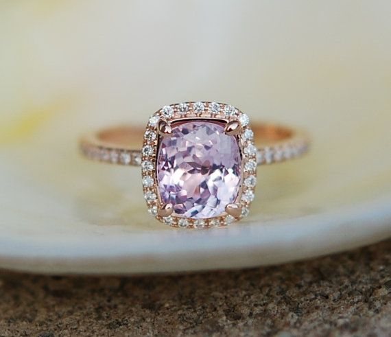 reserved rose sapphire cushion diamond pin engagement gold color lavender ring peach change champagne rings ice