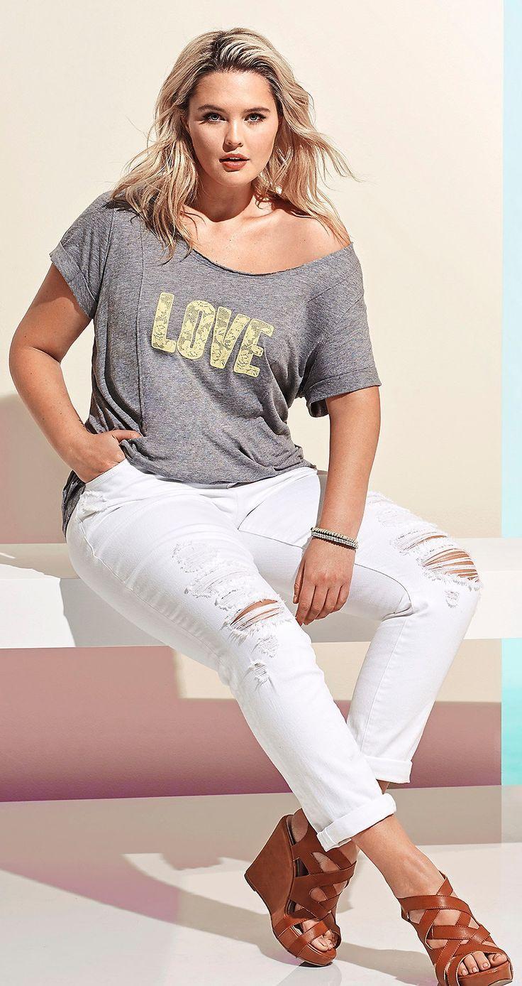 beb8165329a4 Plus Size White Boyfriend Jeans Moda Curvy