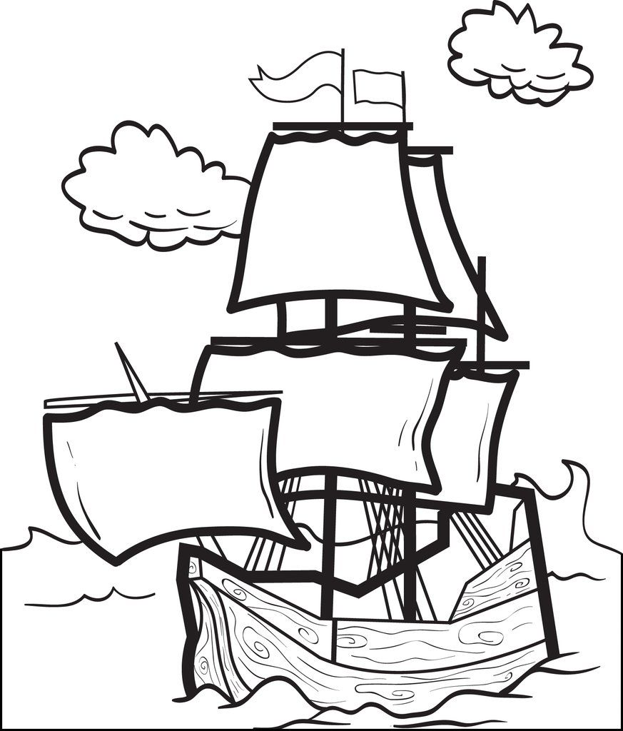 Printable Mayflower Coloring Page for Kids Free
