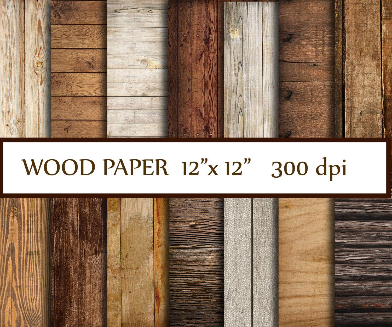 Modern Rustic Digital Scrapbook Paper Pack Wood Burlap Floral INSTANT DIGITAL DOWNLOAD scrapbooking cards wedding invitations printable wood