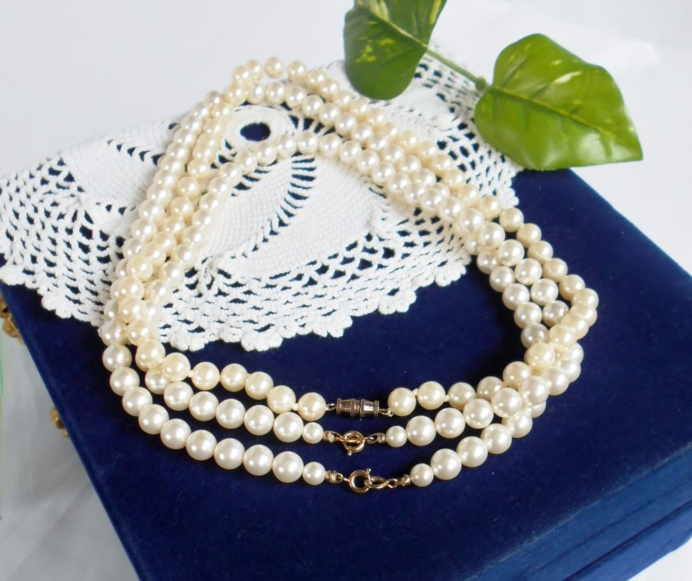 Details about vintage bead necklaces set of faux pearl three