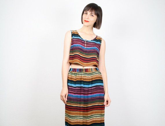 c0b4d2f527 Vintage Outfit 1990s Crop Top Maxi Skirt Two Piece Set Rainbow Striped  Outfit Tank Top Midi Skirt 90s Boho Festival Matching Set L Large on Etsy,  $56.91 AUD