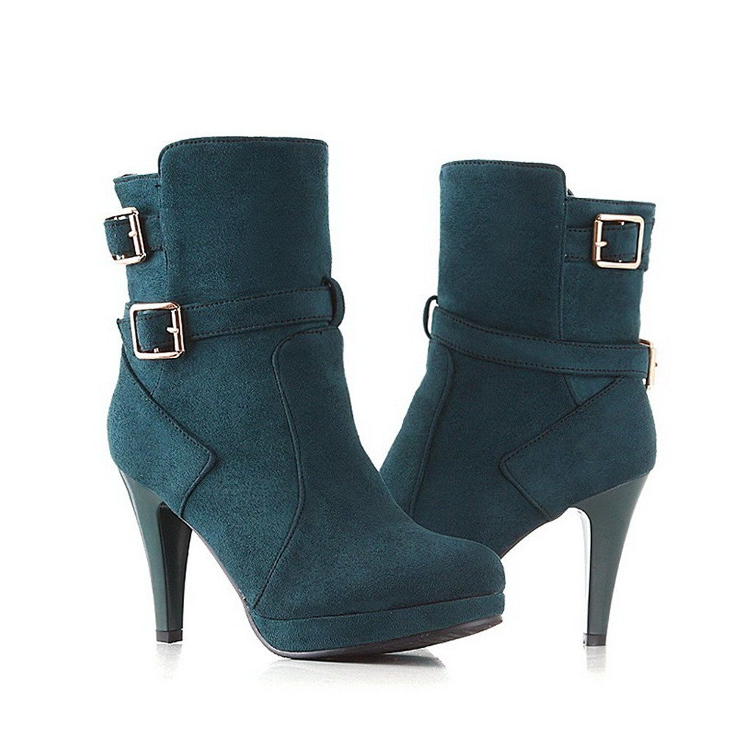 Weipoot Ladys Closed Round Toe Kitten Heel Frosted Solid Boots With Metal Buckles Can T Believe It S Available See It Now Work Boo Boots Heels Work Boots