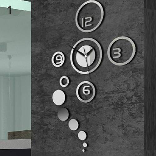 Photo of Modern 3D Acrylic Mirror Surface Round Circle Wall Sticker Clock DIY Home Decor – Silver