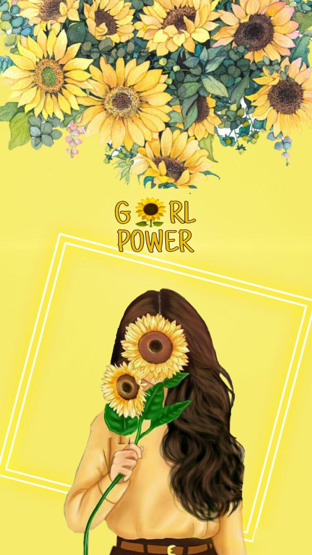 Art Girl Cartoon Beautiful Look Sunflower Girl Power Wallpaper Girl Cartoon Power Wallpaper Sunflower Illustration