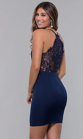 Short Homecoming Party Dress with Lace Racerback - Hoco dresses tight, Bodycon dress homecoming, Hoco dresses short, Formal dresses short tight, Homecoming dresses short tight, Homecoming dresses tight - Curvehugging and short, this homecoming dress is on point for hoco 2020  Offering a sophisticated look, the short dress would also be ideal for wedding receptions, family celebrations, and holiday parties after the big night is over  Versatile and flattering, this lovely semiformal dress has a deep vneck bodice with shoulder straps that lead to the bold sheer florallace racerback feature  A band defines the natural waistline on the short pencil skirt for a polished look  At under $150, this short homecoming party dress is both budgetfriendly and fashionable