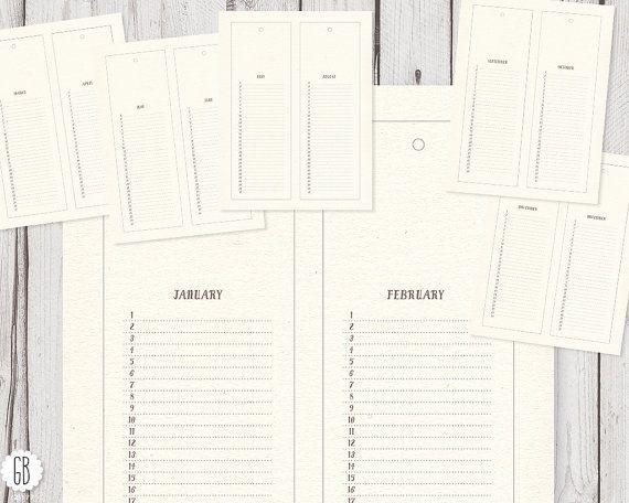 Calendar template, perpetual DIY wall calendar, clip art, monthly - Perpetual Calendar Template