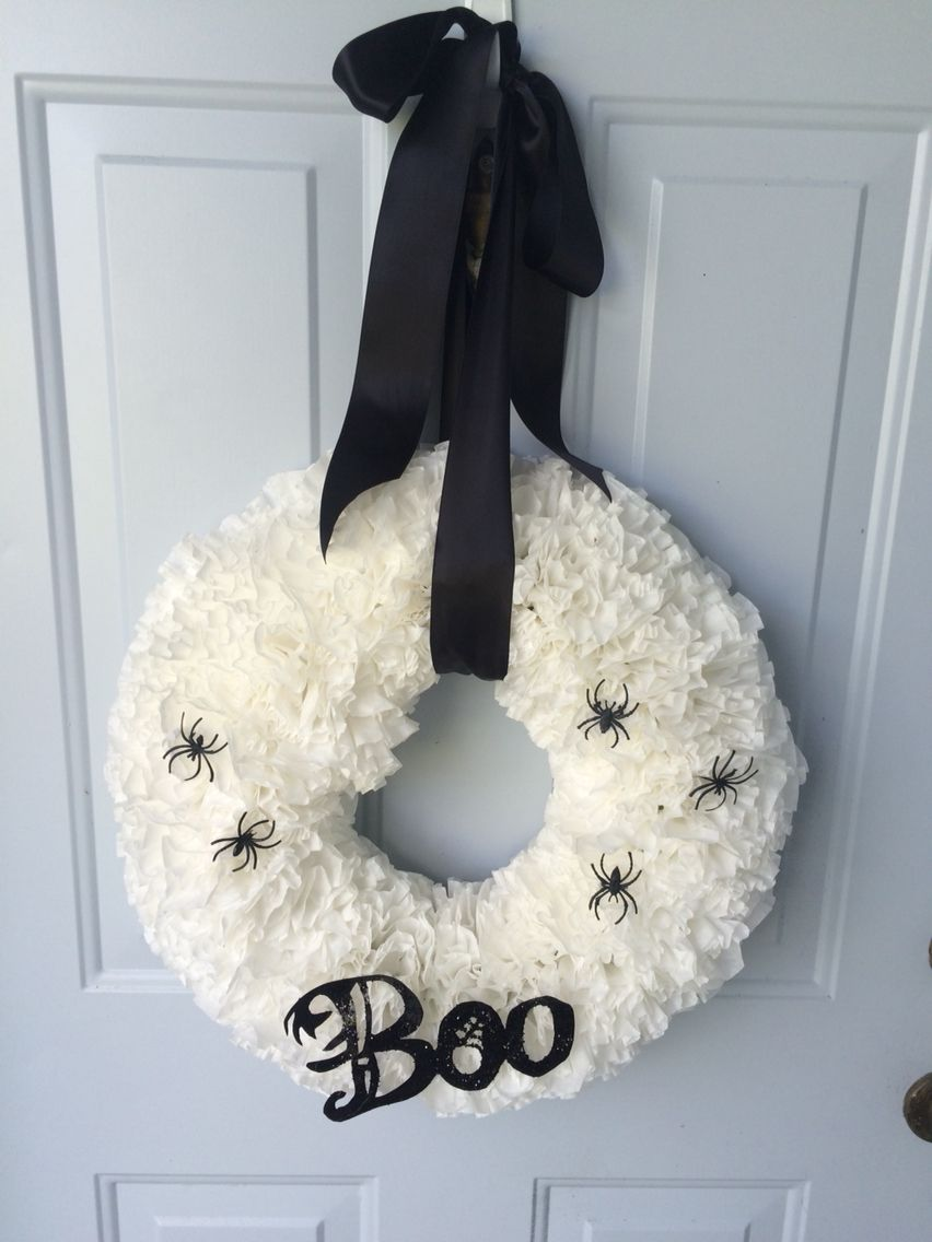 Halloween wreath made from coffee filters