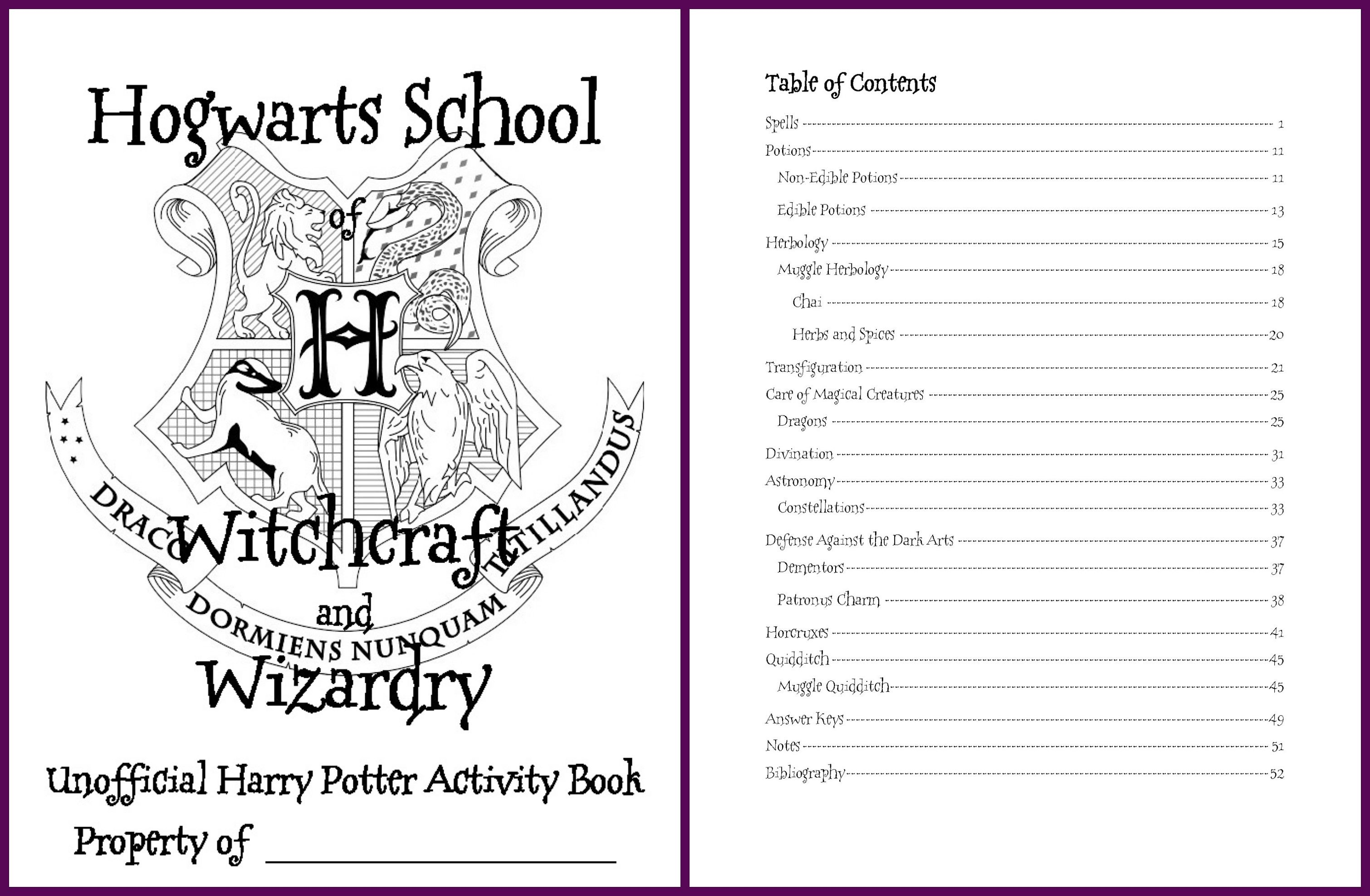 Edition 2 Large Harry Potter Inspired Hogwarts Activity Book Cover And Table Of Contents