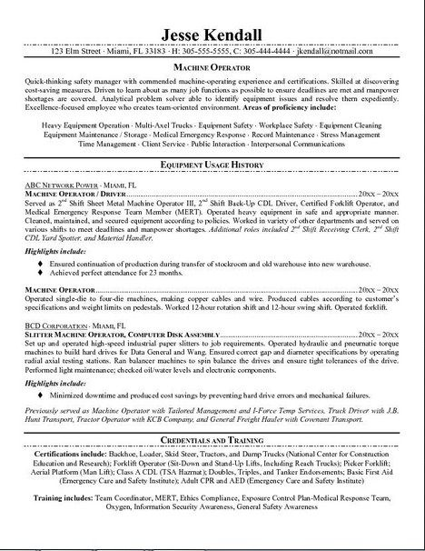 Resume For Machine Operator  HttpJobresumesampleCom