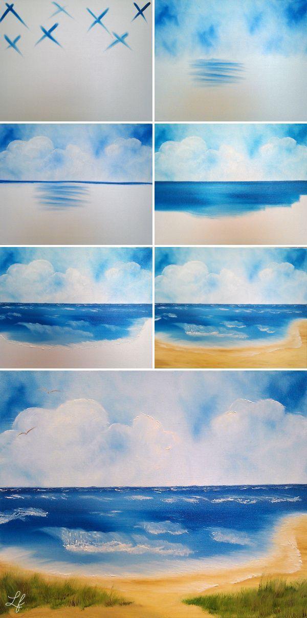 Ostsee-Bild mit der Technik von Bob Ross malen - Pinmodealle #baltic