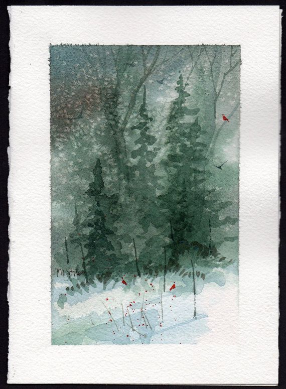 Hand painted Watercolor Christmas Card | CARDS.. ... .. PAPER ...