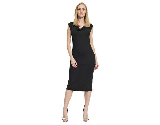 Damen Klassisches Kleid Abendkleid Ärmellos Wasserfallausschnitt Gr ...
